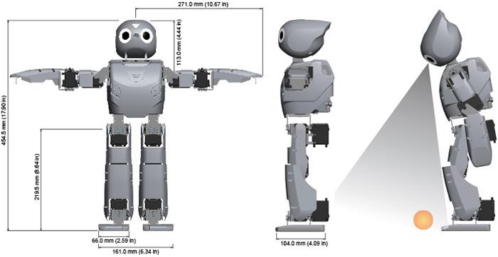 ROBOTIS OP2 ابعاد ربات فوتبالیست انسان نما