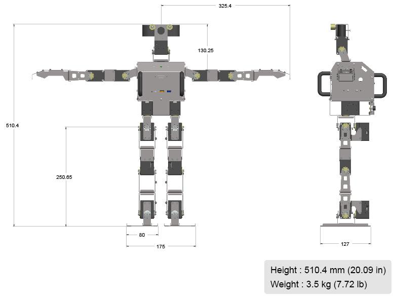 Robotis op3 سایز